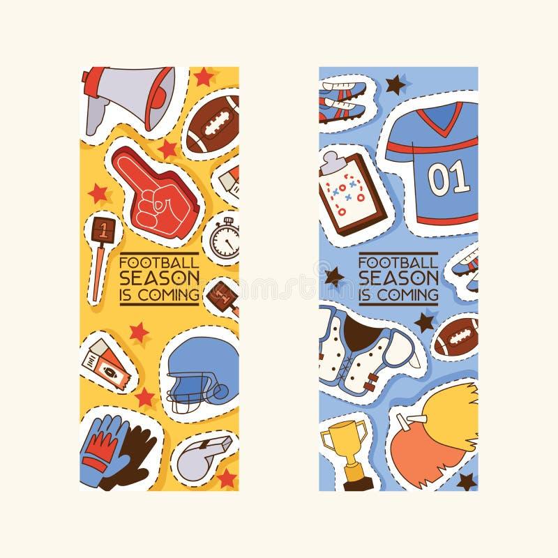 Hoogte van de de stickervoetbal van voetbal de vectorsoccerball en sportkleding van voetballer of soccerplayer de reeks van de il stock illustratie
