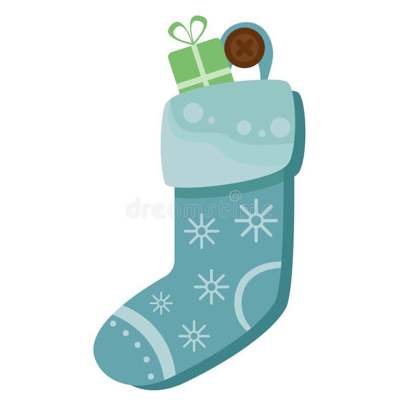 Hoogtepunt van de Kerstmis het blauwe die sok van suikergoed, koekjes en giften, op een witte achtergrond worden geïsoleerd Vecto royalty-vrije illustratie
