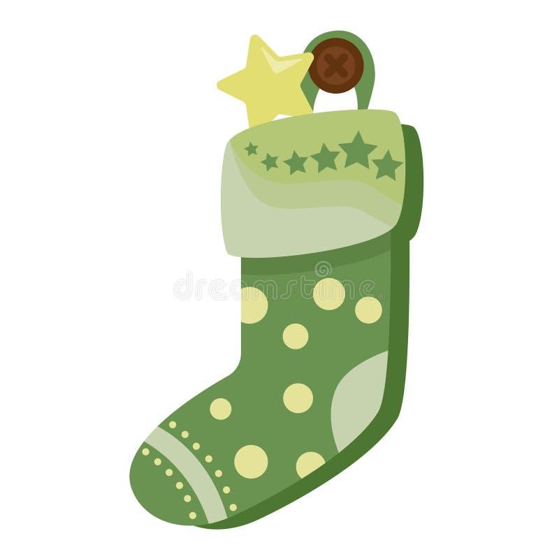 Hoogtepunt van de Kerstmis het groene die sok van suikergoed, koekjes en giften, op een witte achtergrond worden geïsoleerd Vecto vector illustratie