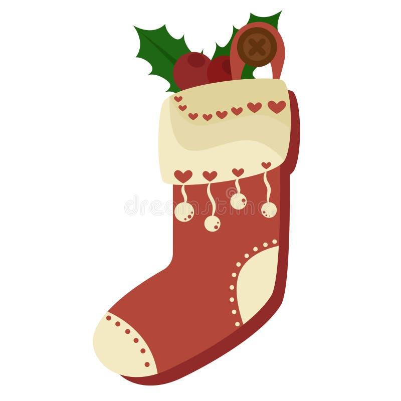 Hoogtepunt van de Kerstmis het rode die sok van suikergoed, koekjes en giften, op een witte achtergrond worden geïsoleerd Vector  vector illustratie