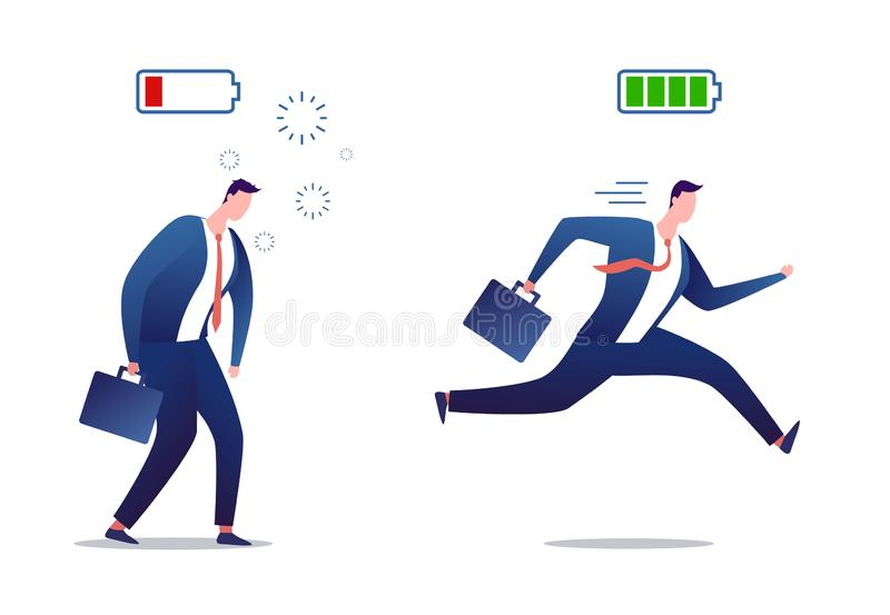 Hoogtepunt van energie en vermoeide zakenman Beklemtoonde overwerkte en krachtige zakenman Krachtige en vlakke persoon met hoogte royalty-vrije illustratie