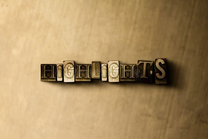 HOOGTEPUNTEN - close-up van grungy wijnoogst gezet woord op metaalachtergrond stock illustratie