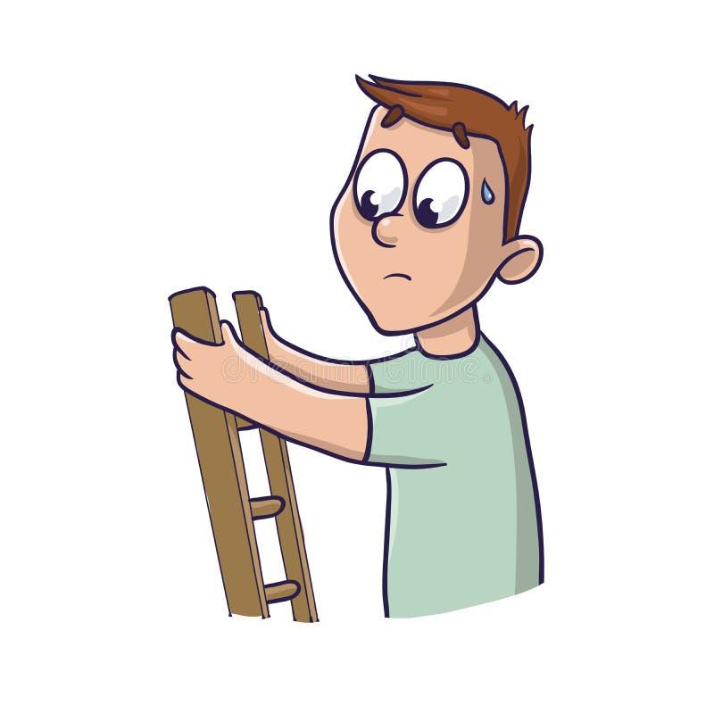 Hoogtevrees Een bang gemaakte mens omhoog de treden Vector illustratie royalty-vrije illustratie