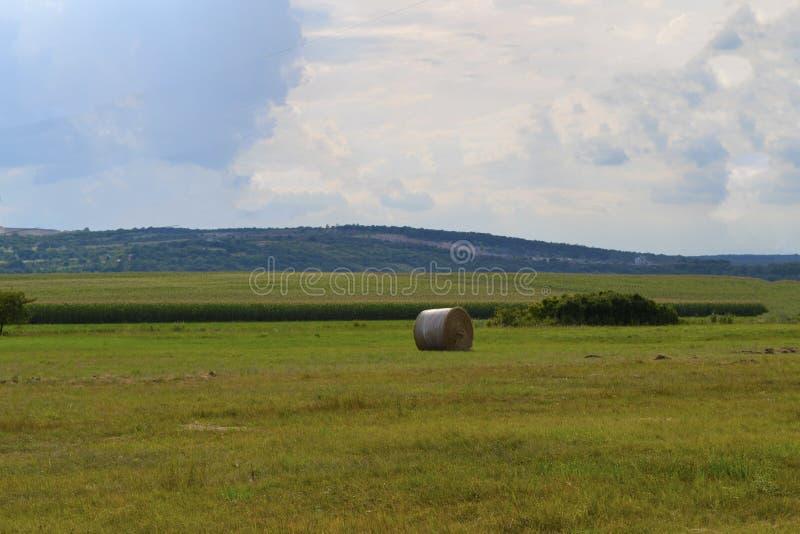 Hooibaal op de weide met blauwe hemel en heuvels stock afbeelding