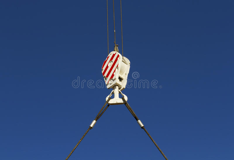 Hook. Crane monkey hook with wire rope royalty free stock photos