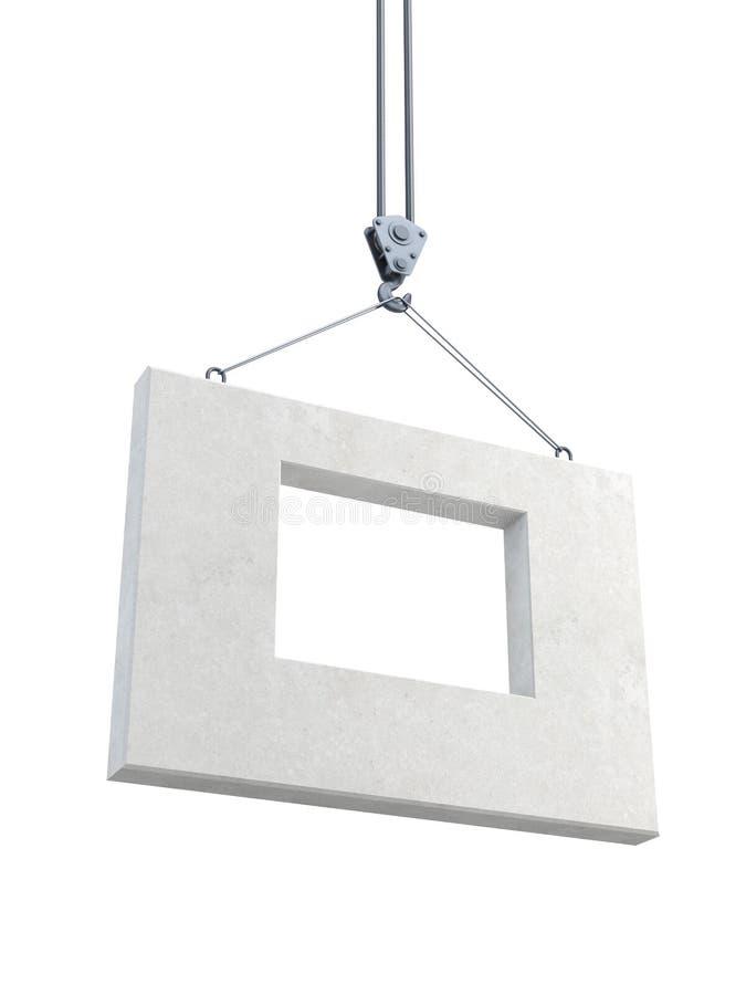 Hook holding concrete block vector illustration