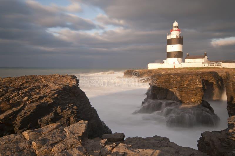 Hook lighthouse. During the high seas, Ireland stock photo