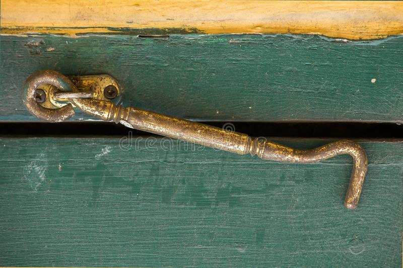 Hook old brass window Used to attach doors stock image