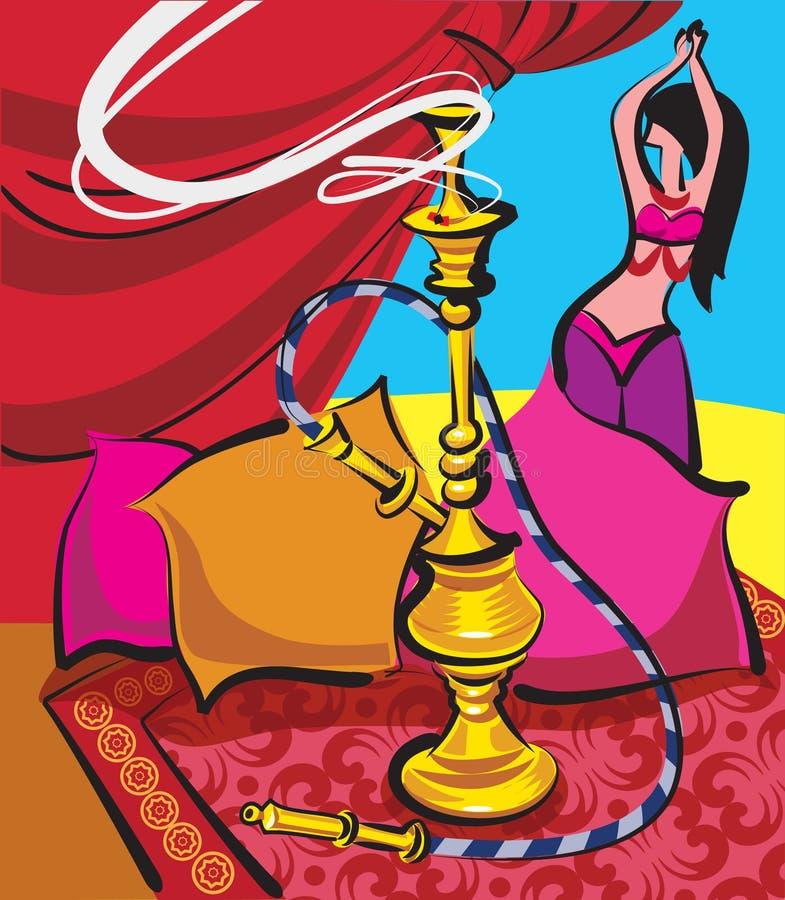 Hookah and belly dancer vector illustration