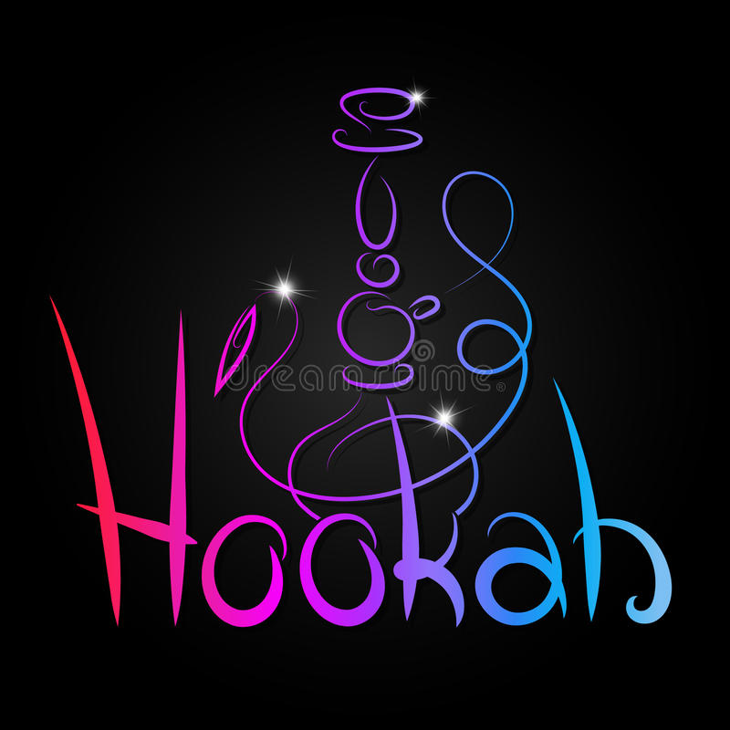 Hookah inscription color abstract royalty free illustration