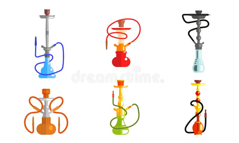Hookah od Different Colors Set, Lounge Bar or Smoke Shop Design Element, Equipment for Vaporizing and Smoking Flavored. Tobacco Vector Illustration on White royalty free illustration