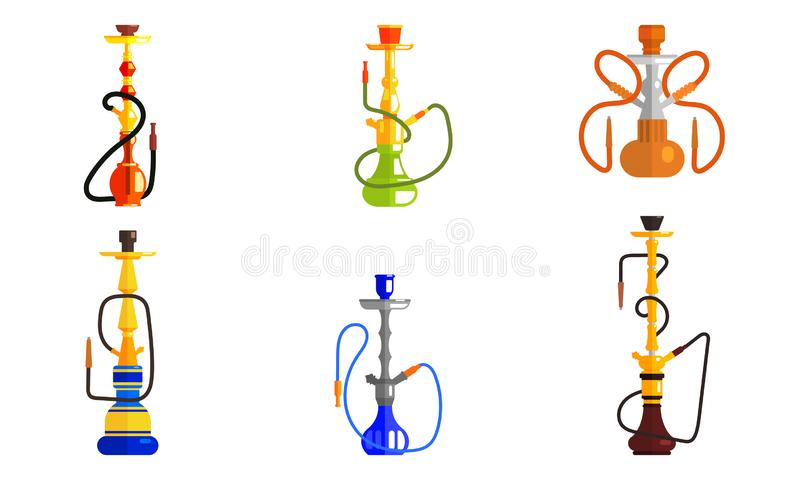 Hookah od Different Colors Set, Lounge Bar or Smoke Shop Design Element Vector Illustration. On White Background royalty free illustration