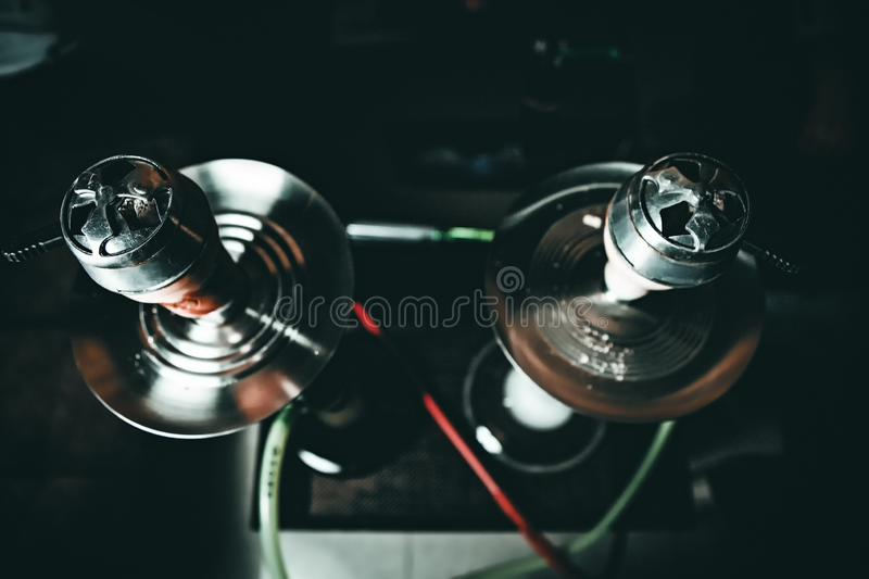 Hookah ready to smoke. In the club royalty free stock images