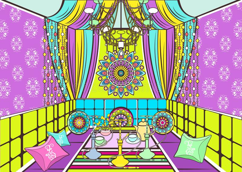 Hookah room ornate decorated in oriental style, cartoon drawing, vector illustration. Bright colorful room with sofa with pillows, stock illustration