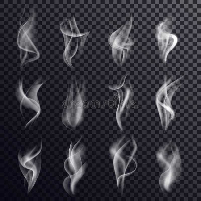 Hookah smoke and gray steam, vapor background vector illustration