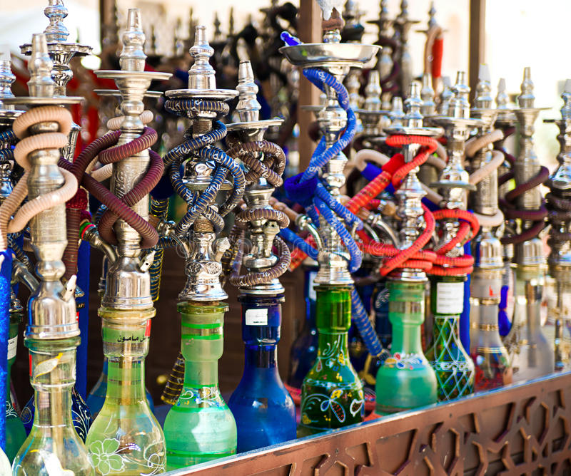 Hookah in souvenir shop. At UAE stock photography