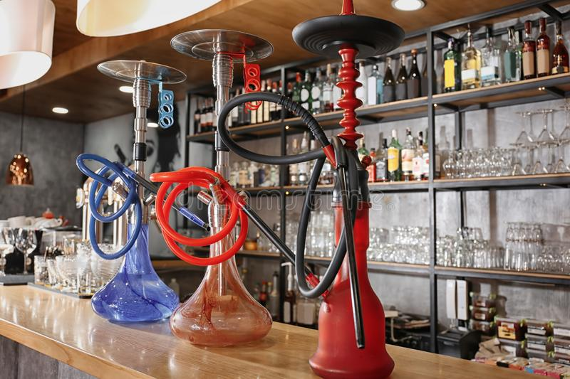 Hookahs on counter in bar royalty free stock images