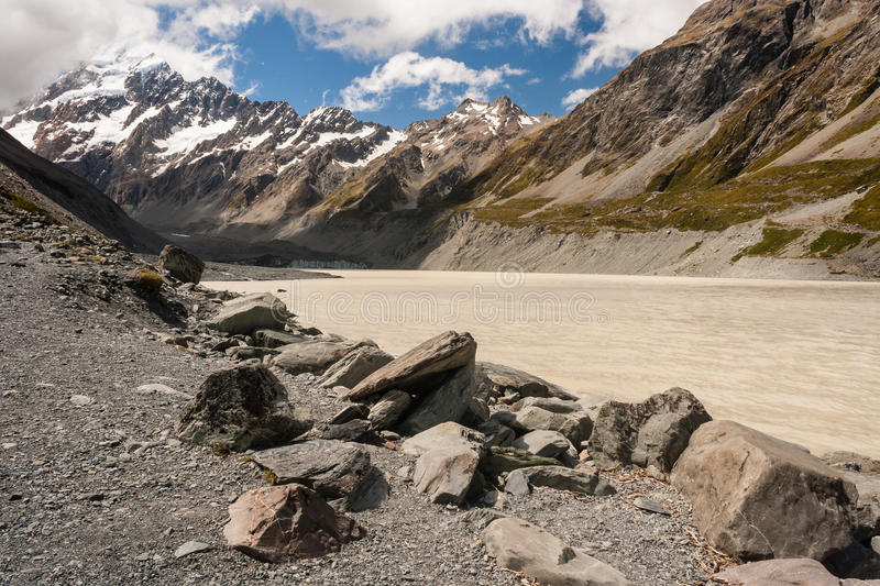 Lake with Mount Cook. New Zealand royalty free stock photo