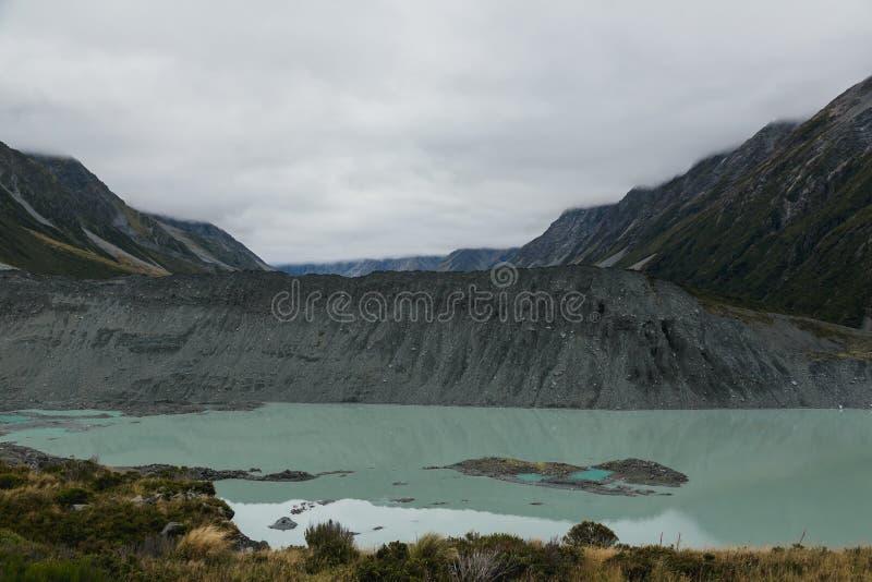 Hooker See, einer der populärsten Wege Aoraki-/Mtkoch National Park, Neuseeland lizenzfreie stockfotografie