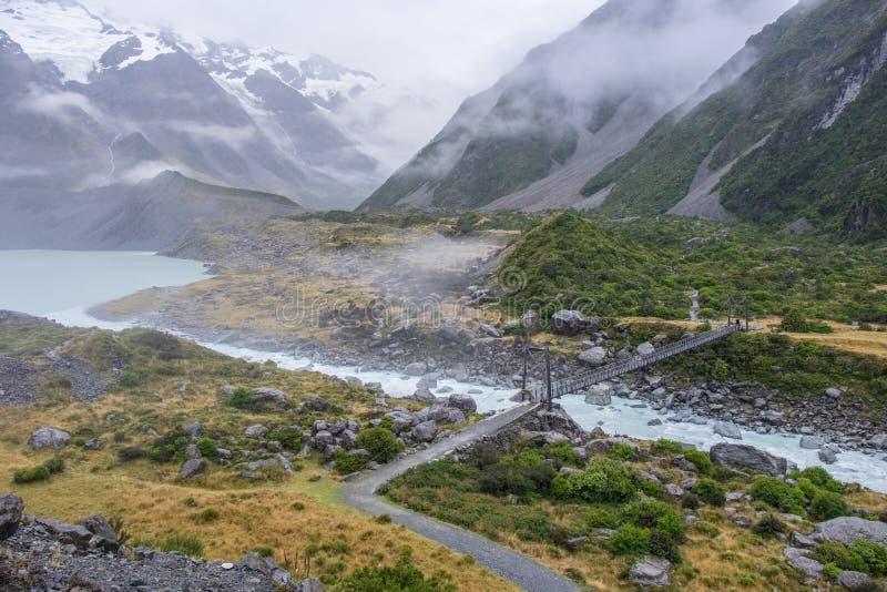 Hooker-Tal-Bahn, einer der populärsten Wege in Aoraki-/Mtkoch National Park, Neuseeland lizenzfreie stockbilder