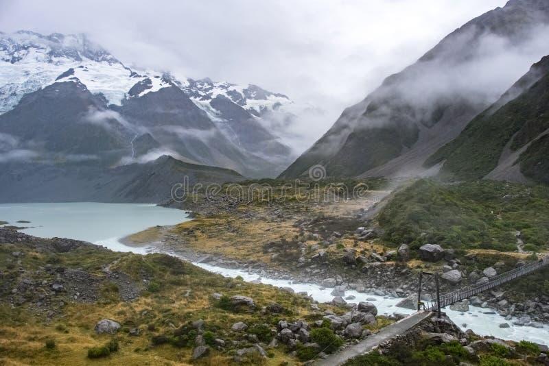 Hooker-Tal-Bahn, einer der populärsten Wege in Aoraki-/Mtkoch National Park, Neuseeland lizenzfreie stockfotos