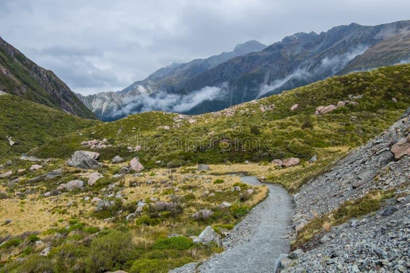 Hooker-Tal-Bahn, einer der populärsten Wege in Aoraki-/Mtkoch National Park, Neuseeland stockfotografie