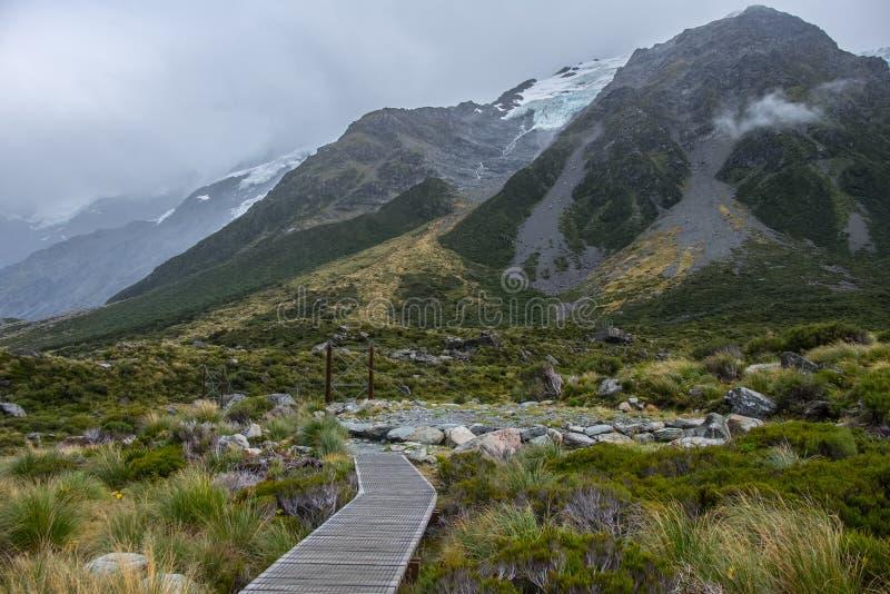 Hooker-Tal-Bahn, einer der populärsten Wege in Aoraki-/Mtkoch National Park, Neuseeland stockfoto
