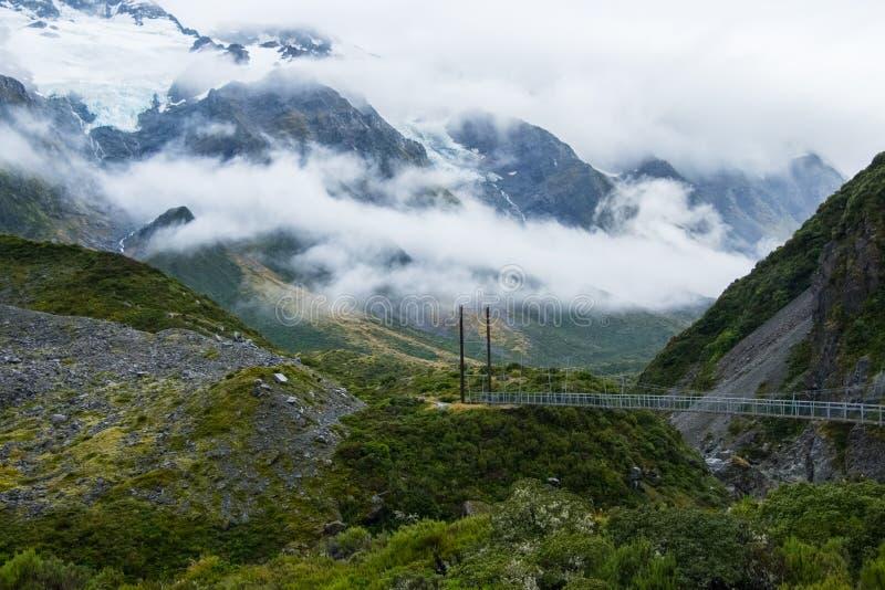 Hooker-Tal-Bahn in Mt Nationalpark des Kochs, Neuseeland stockfotos