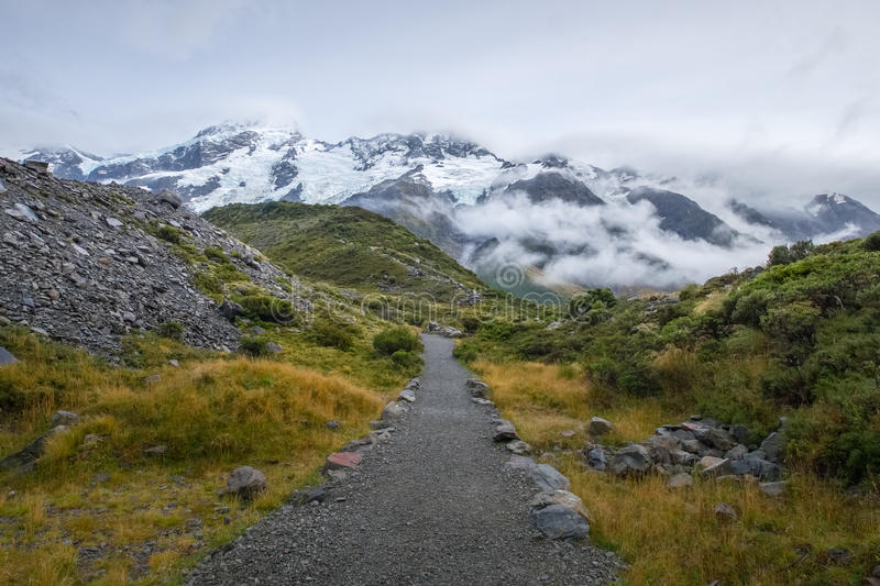 Hooker-Tal-Bahn in Mt Nationalpark des Kochs, Neuseeland stockbilder