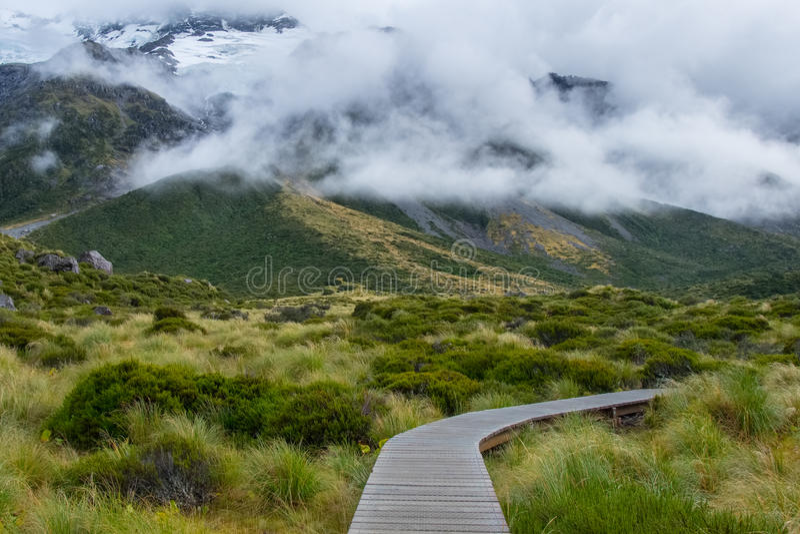 Hooker-Tal-Bahn in Mt Nationalpark des Kochs, Neuseeland lizenzfreies stockfoto