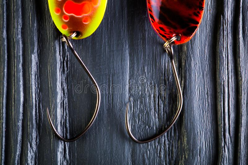 Hooks for trout baits stock photos