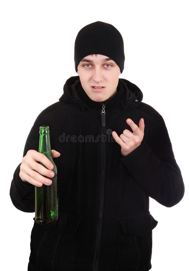 Hooligan met een Bier royalty-vrije stock afbeelding