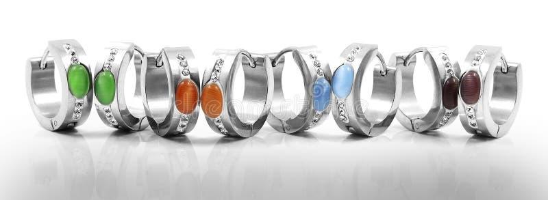 Hoop earrings, surgical stainless steel stock images