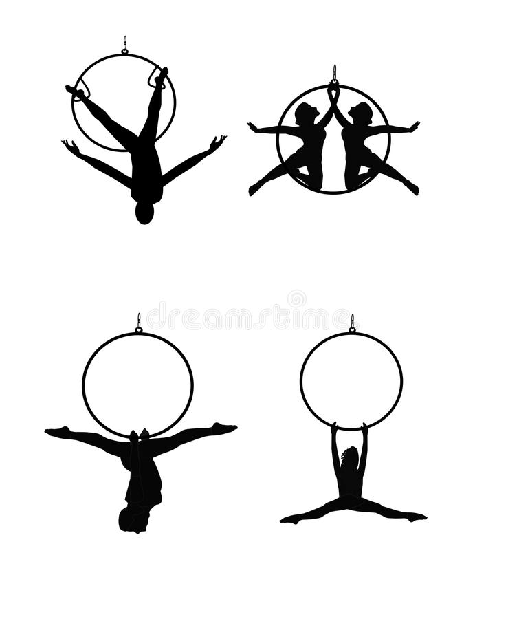 Hoop and ring dancers. Aerial dancers with hoops and rings over white stock illustration