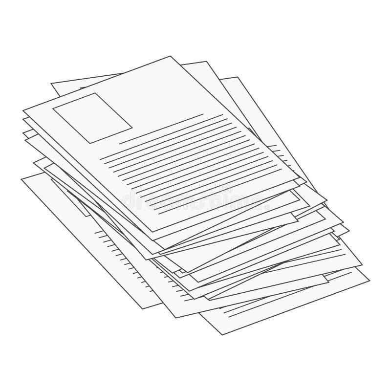 Hoop, stapel van document van het het Webpictogram van het documentdossier ontwerp van het het symboolpictogram het vector Mooie  stock illustratie
