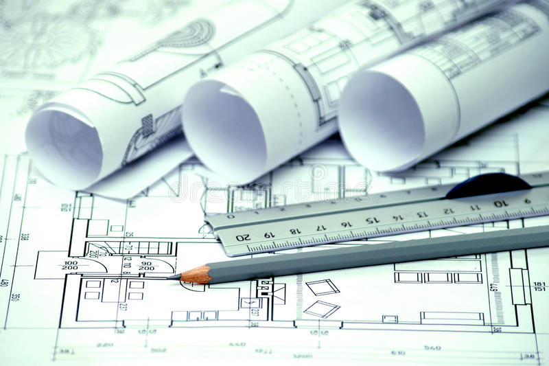 Hoop van architectuurontwerp en projectblauwdrukkentekeningen van stock afbeeldingen