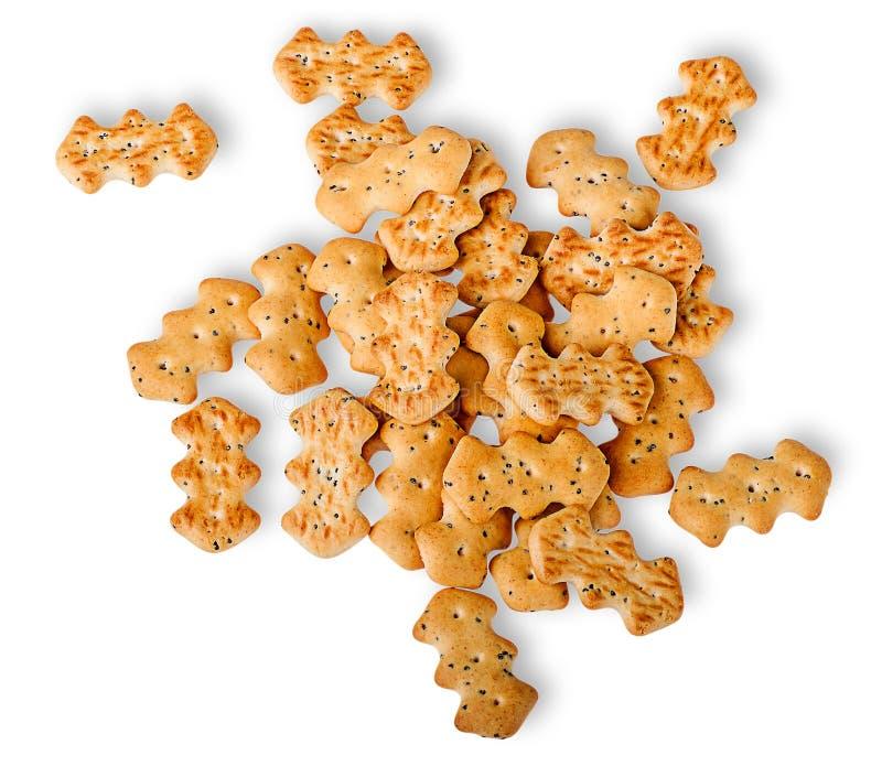Hoop van crackers met de hoogste mening van papaverzaden stock fotografie