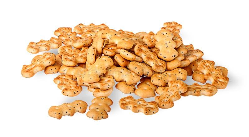 Hoop van crackers met papaverzaden royalty-vrije stock fotografie