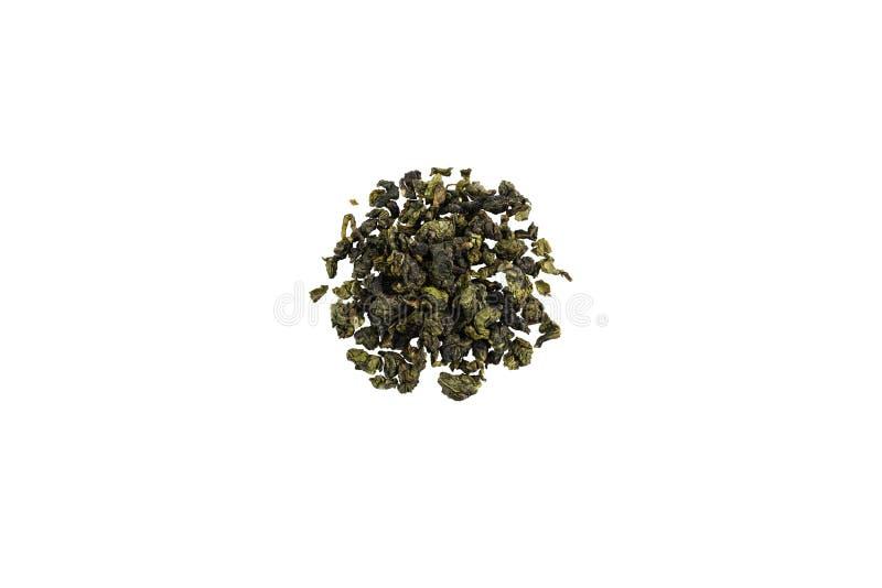 Hoop van de groene thee van Oolong op witte achtergrond Geïsoleerde royalty-vrije stock afbeelding