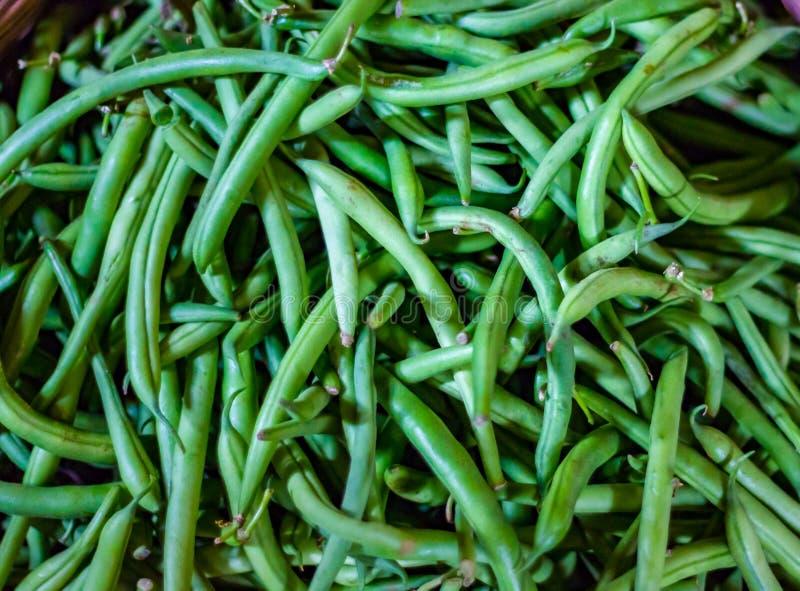 Hoop van de slabonen van Frankrijk in kleinhandels plantaardige supermarkt voor verkoop royalty-vrije stock afbeeldingen