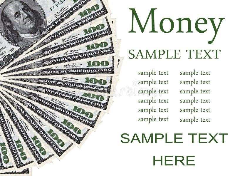Hoop van 100 die dollar rekeningen op witte achtergrond worden geïsoleerd - Geldconcept royalty-vrije stock afbeeldingen