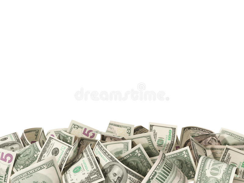 Hoop van 1.5 en 100 Dollarsrekeningen op witte achtergrond stock foto