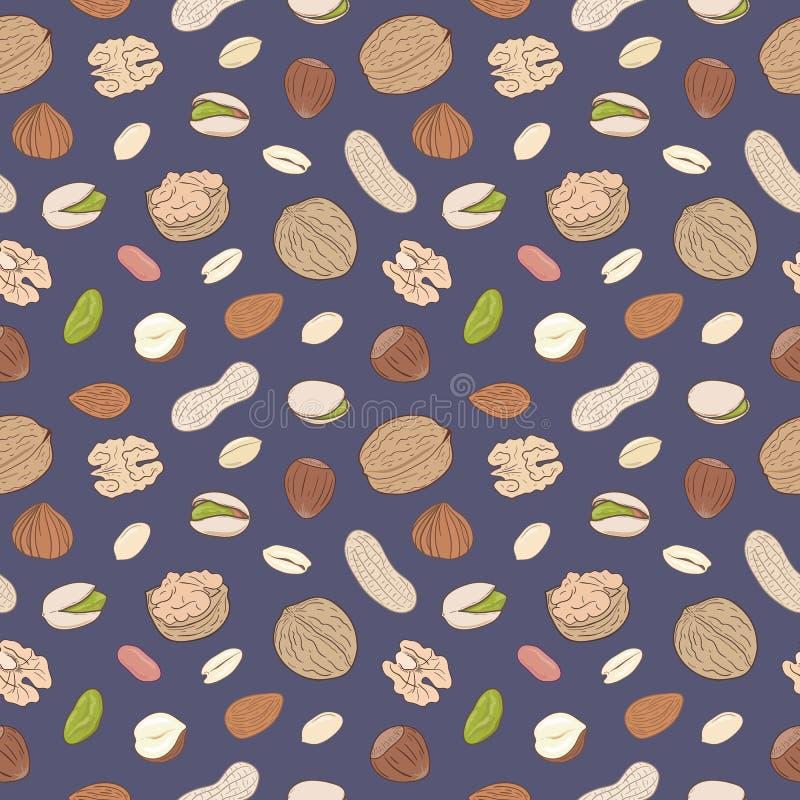Hoop van geassorteerde noten Naadloos Hand getrokken vectorpatroon stock illustratie