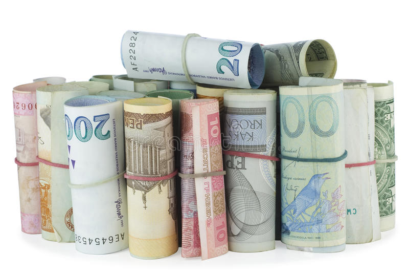 Hoop van geld stock foto's