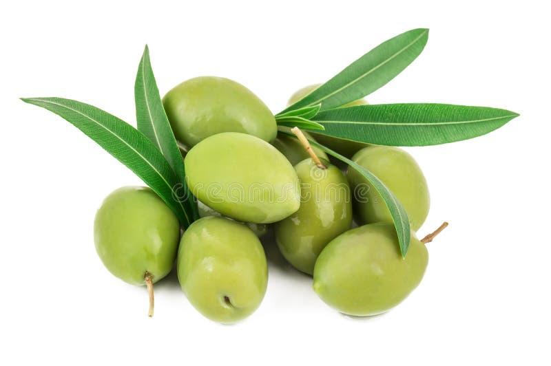 Hoop van groene olijven stock foto's