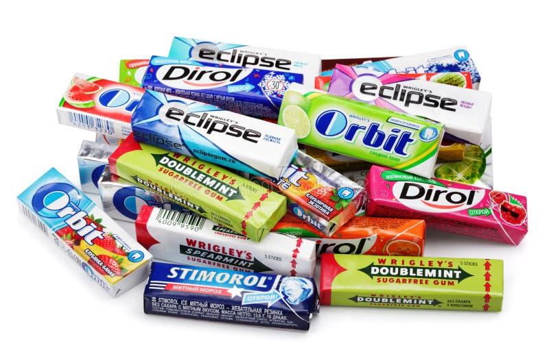 Hoop van het diverse merk kauwen of kauwgom royalty-vrije stock foto