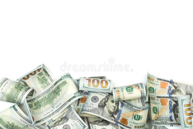 Hoop van honderd die Dollarsrekeningen op witte achtergrond met plaats voor uw tekst worden geïsoleerd - Beeld royalty-vrije stock foto
