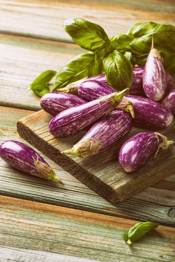 Hoop van kleine aubergine of aubergine stock foto