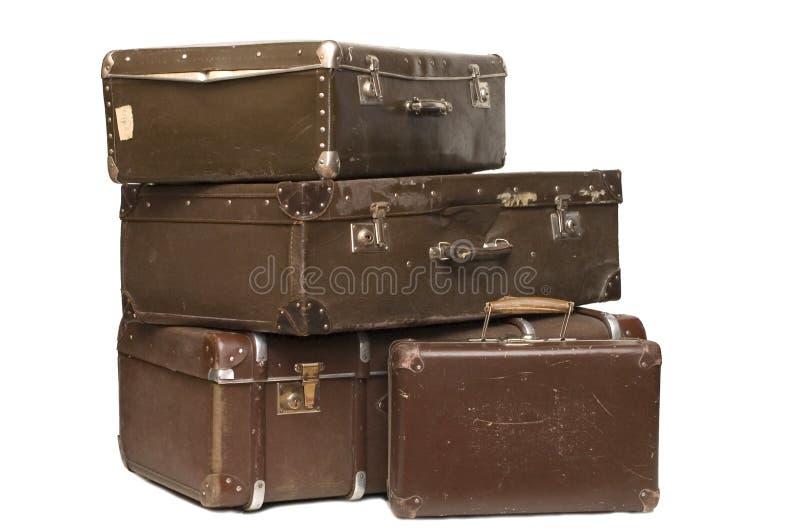 Hoop van oude koffers royalty-vrije stock foto's