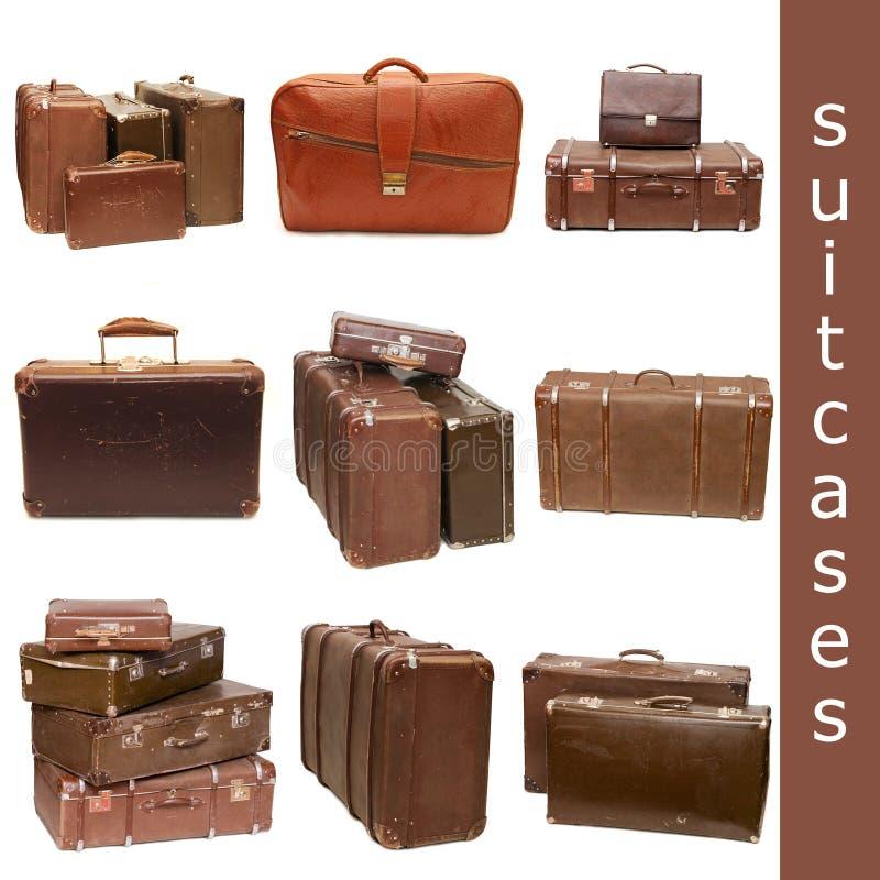 Hoop van oude koffers - collage royalty-vrije stock foto's